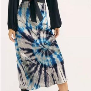 Free People Serious Swagger Tie Dye Velvet Skirt